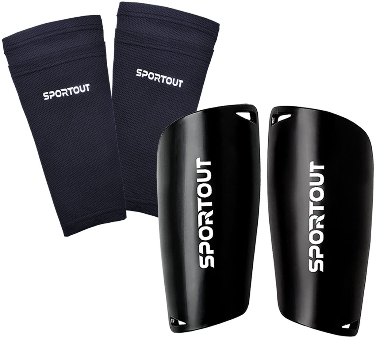 Sportout Soccer Shin Guards With Cushioned Ankle Protection