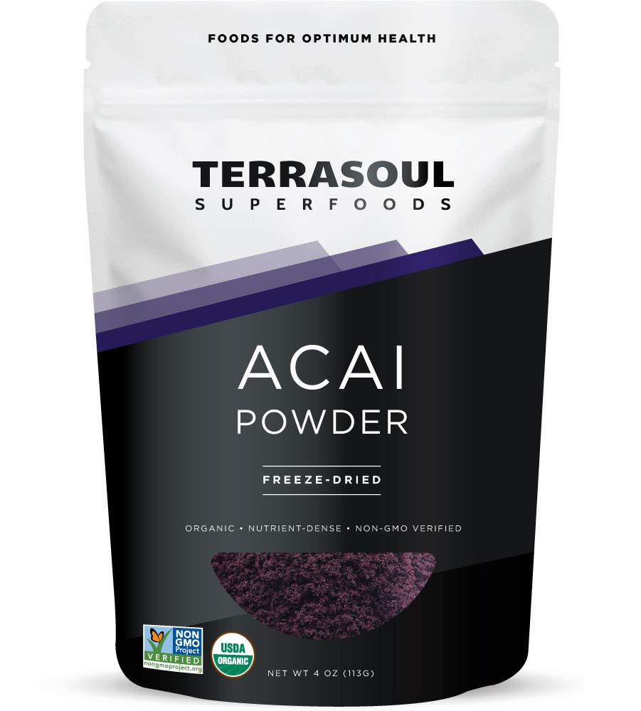 Terrasoul Superfoods Freeze-Dried Organic Acai Berry Powder, 4-Ounce