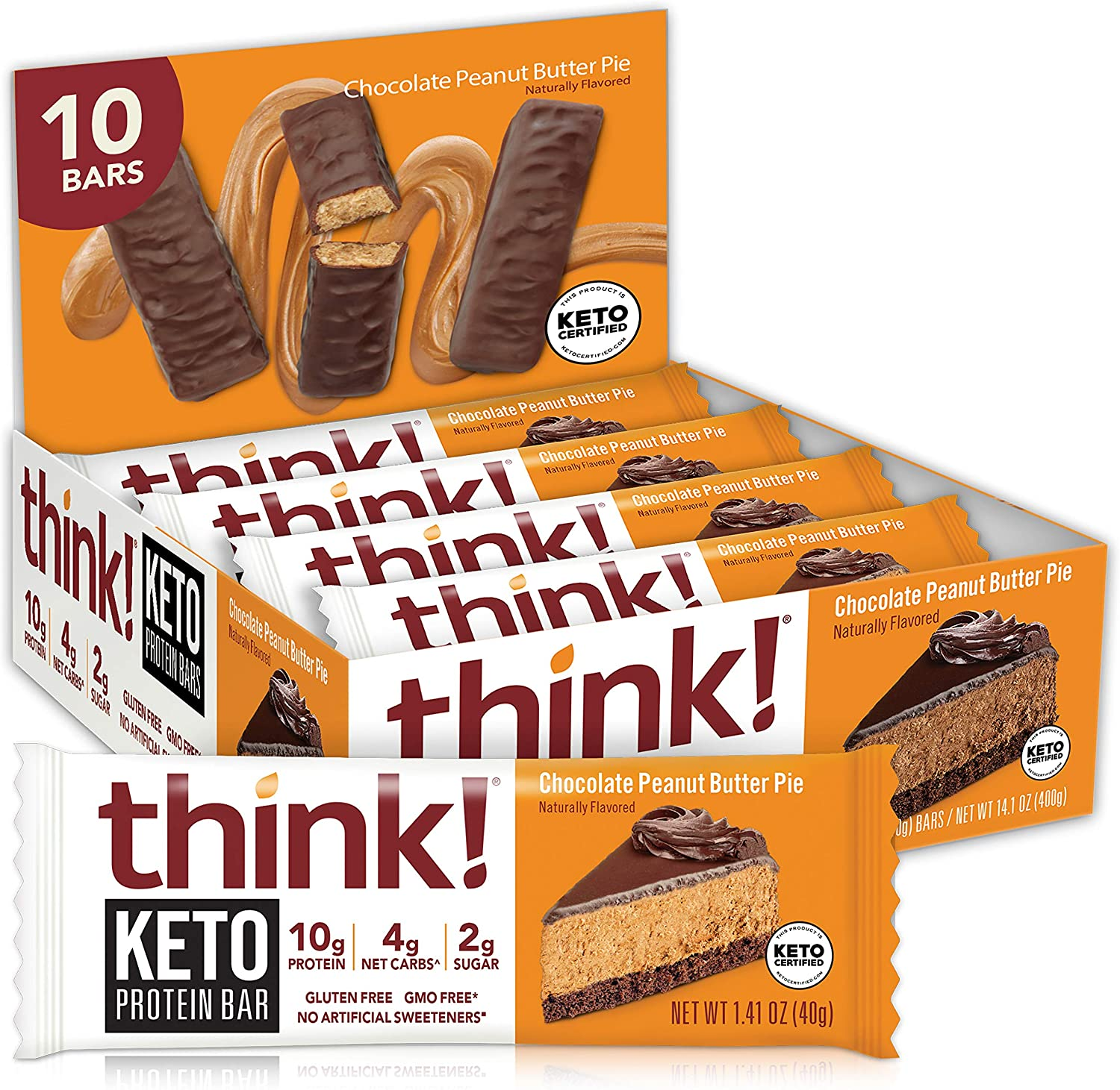think! Keto Chocolate Peanut Butter Pie Protein Bars For Breakfast