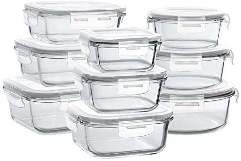 Bayco Airtight Meal Prep Glass Food Storage, 9-Piece