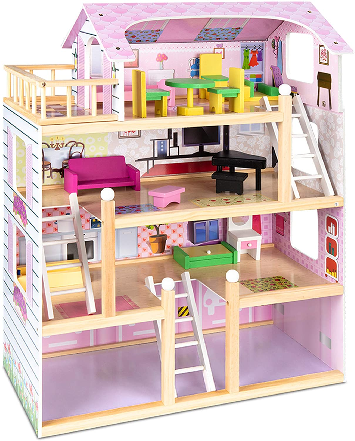 Best Choice Products 4-Level Wooden Dollhouse, 13-Piece