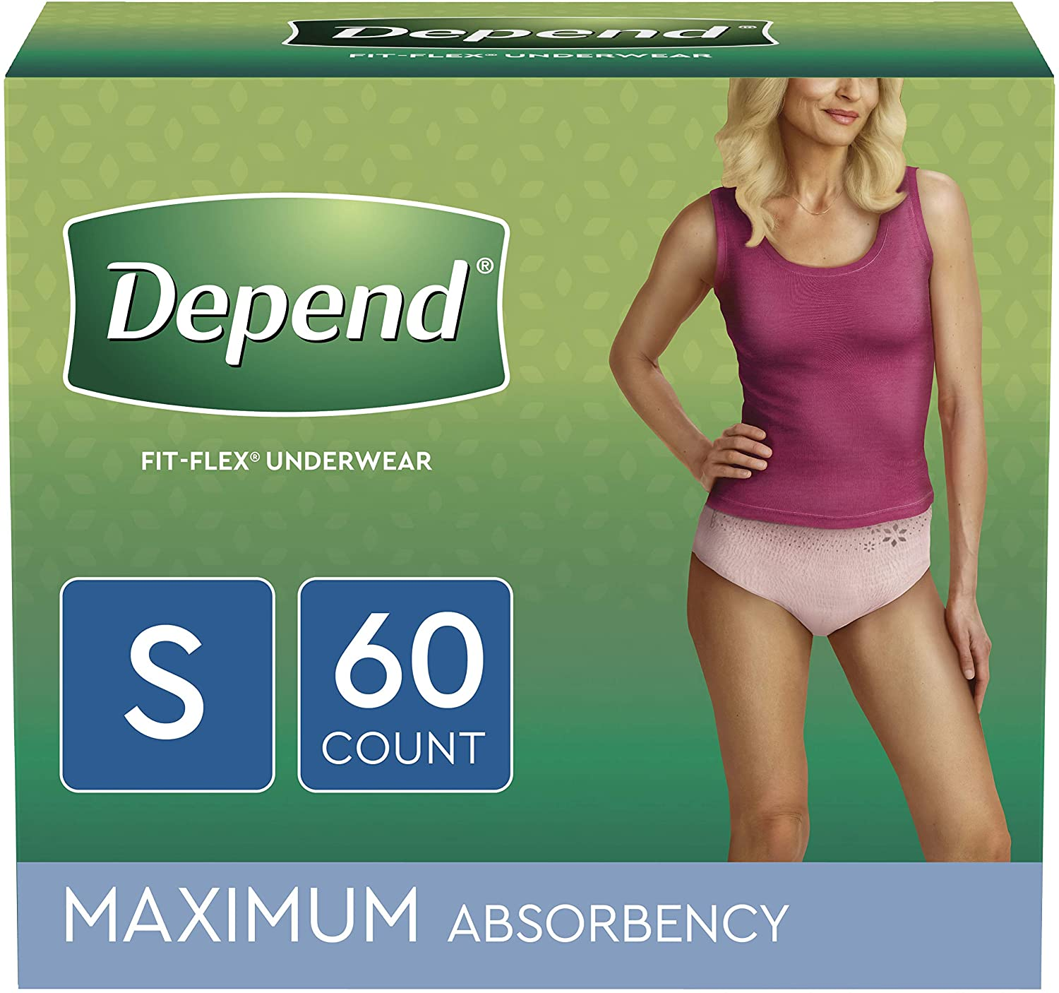 Depend FIT-FLEX Incontinence & Postpartum Disposable Maximum Absorbency Adult Diaper, 60-Count