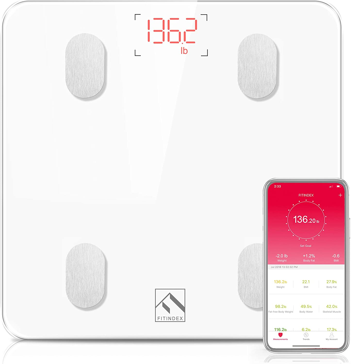 FITINDEX Bluetooth Smart Wireless BMI Scale