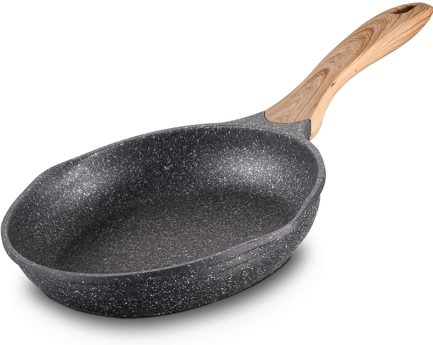 Jeetee Nonstick Soft Touch Handle Induction Stone Frying Pan, 8-Inch