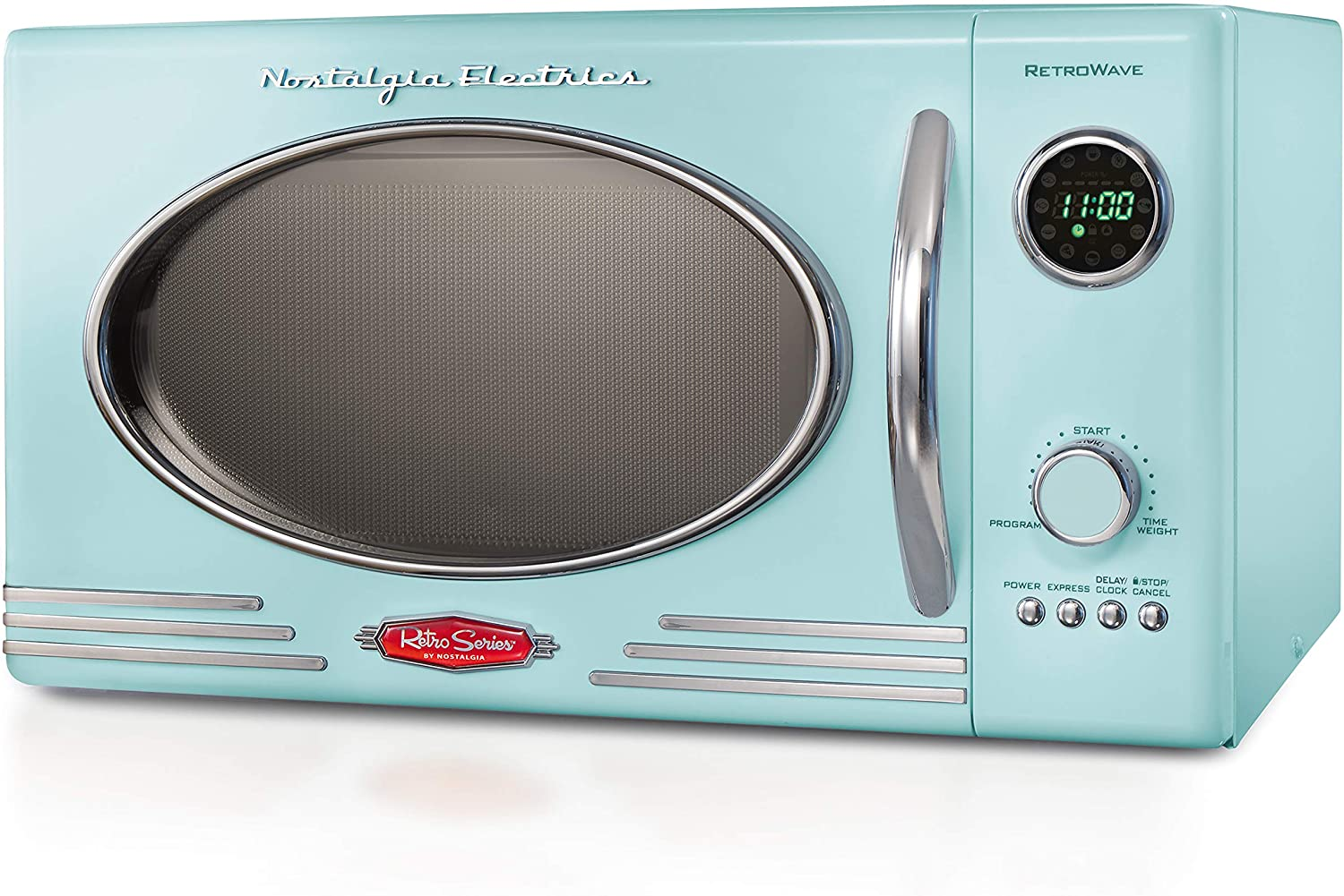 Nostalgia Retro Large Portable Microwave Oven, 800-Watt