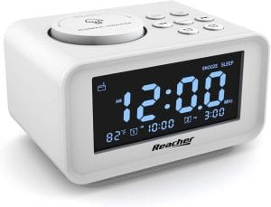 REACHER Adjustable Dual USB Charging Alarm Clock Radio