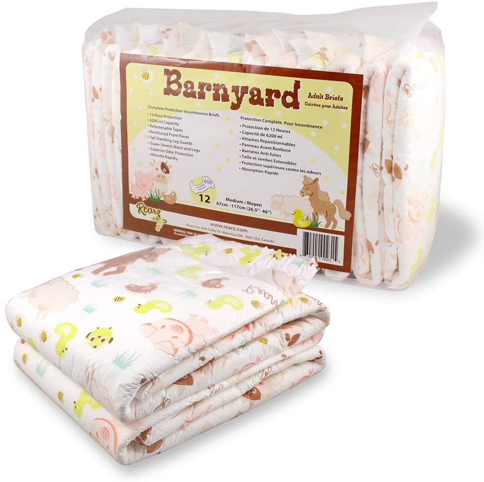 Rearz Barnyard Adult Diaper, 12-Pack