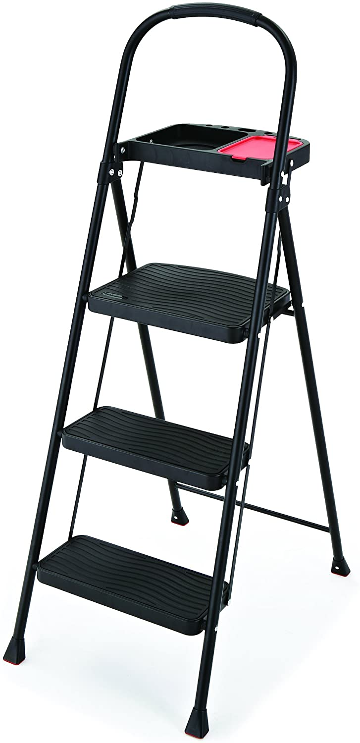 Rubbermaid RMS-3T 3-Step Steel Step Ladder With Project Tray