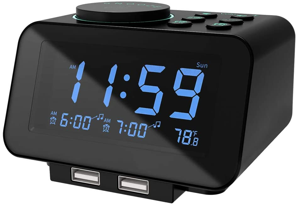 USCCE Dimmer Dual USB Charging Digital Alarm Clock Radio