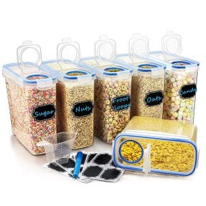 Wildone Airtight BPA Free Plastic Cereal Container Set, 6-Piece