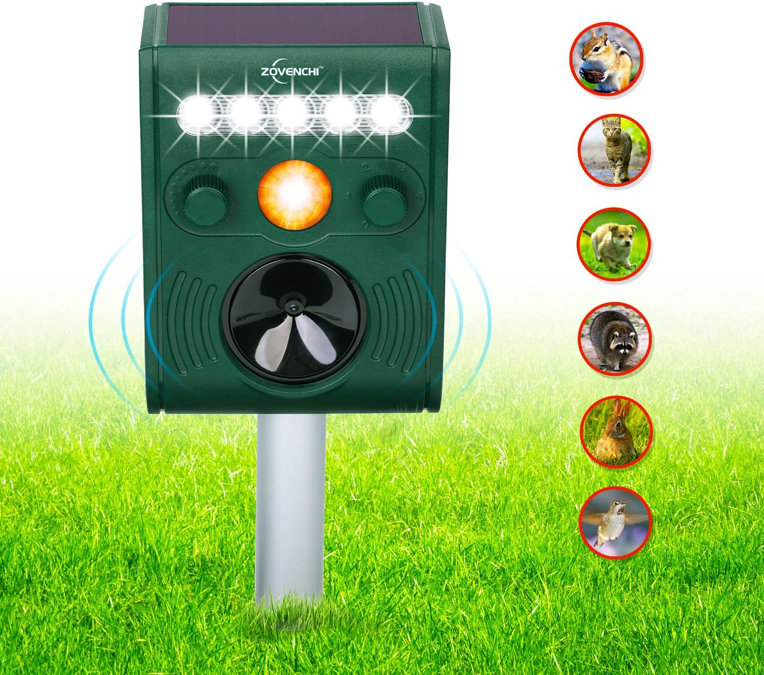 ZOVENCHI 11 GH-191B Solar Repeller & LED Flash Outdoor Pest Deterrent