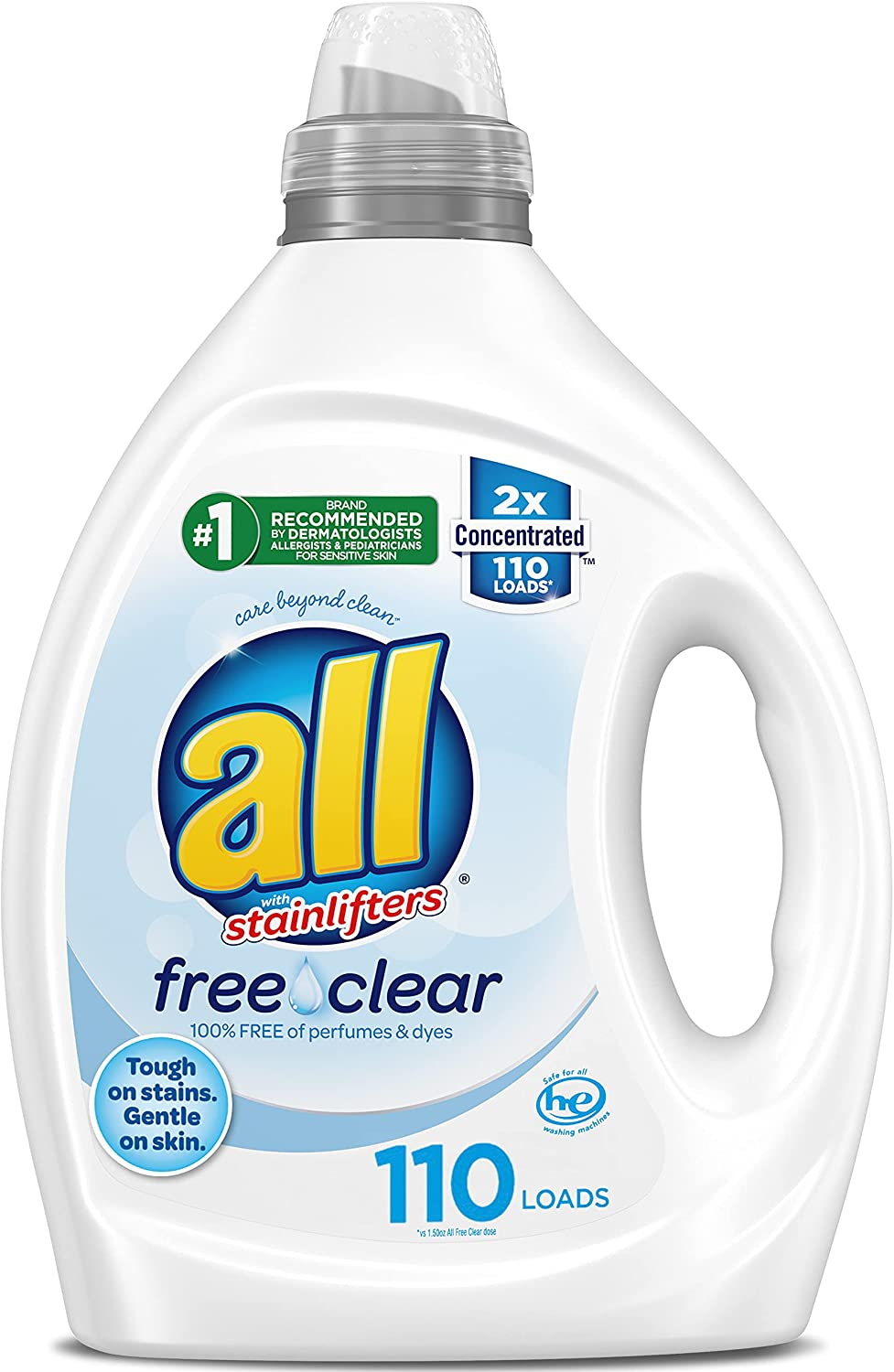 All Liquid Free Clear For Sensitive Skin 2X Concentrated Laundry Detergent