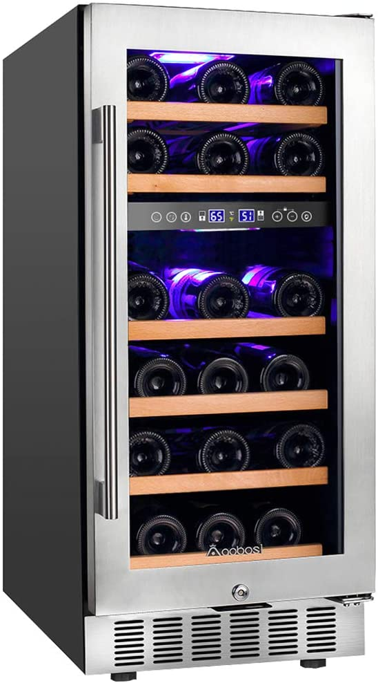 Aobosi Stainless Steel Tempered Glass Dual Zone Wine Cooler