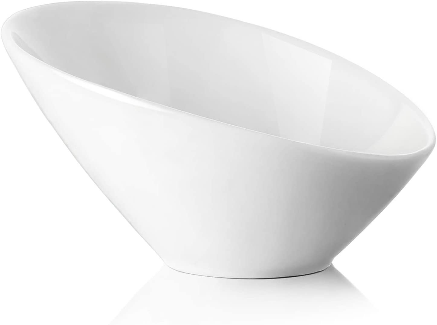 DOWAN 26-Ounce Ceramic Angled Salad Serving Bowl, 2-Pack