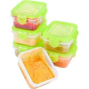 Elacra Plastic Airtight Baby Food Freezer Storage, 6-Pack