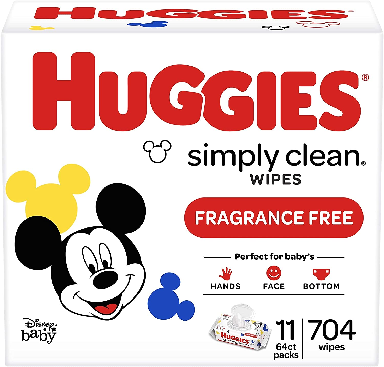 Huggies Simply Clean Unscented Flip-Top Baby Wipe, 11-Pack