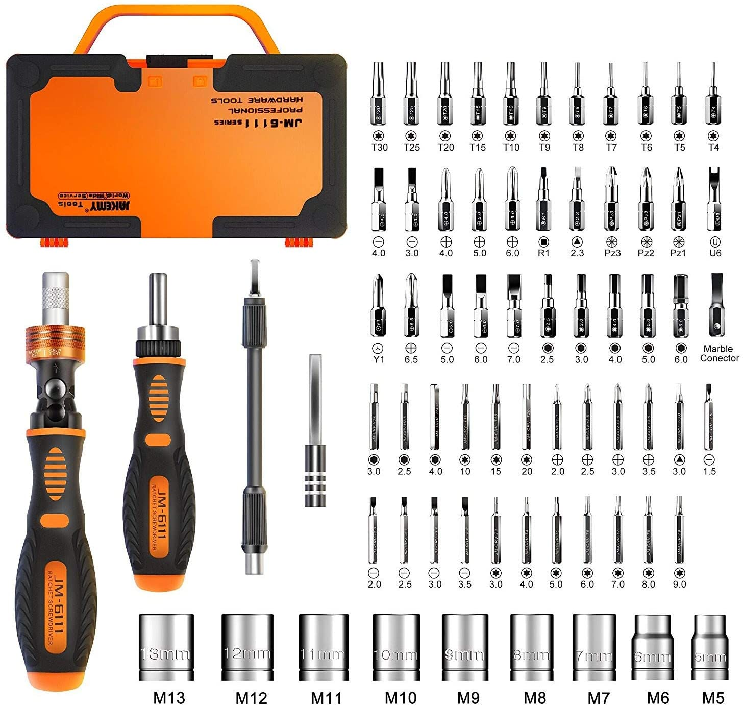 Jakemy Rotatable Magnetic Kit 69-In-1 Household Repair Ratcheting Screwdriver