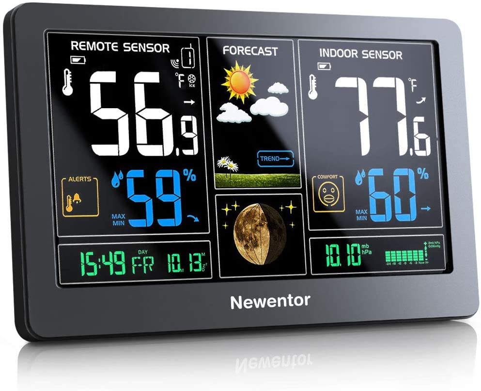 Newentor Adjustable Color Display Digital Atomic Clock & Weather Station