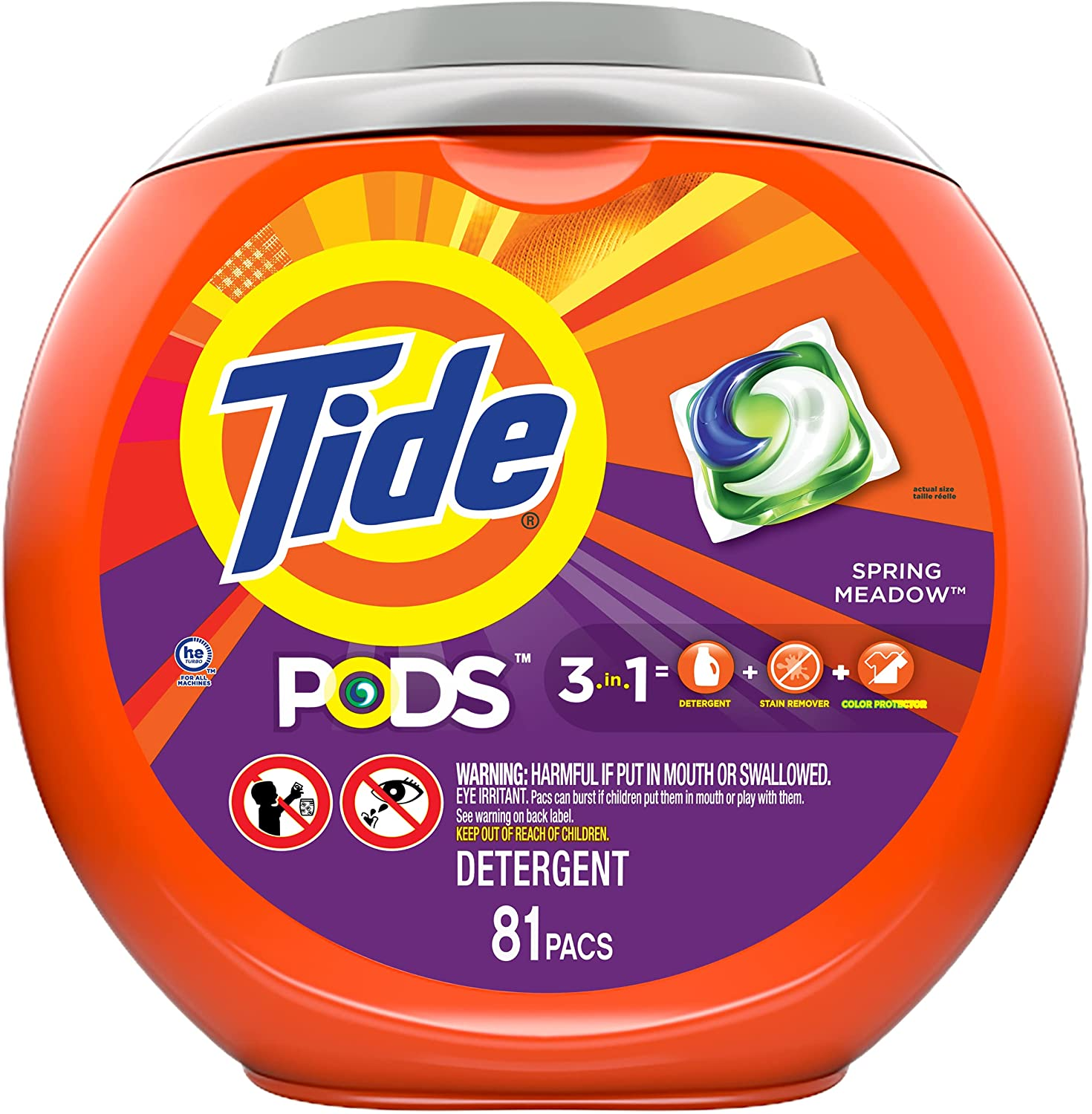 Tide Pods 3-In-1 Meadow Scent Laundry Detergent, 81-Count