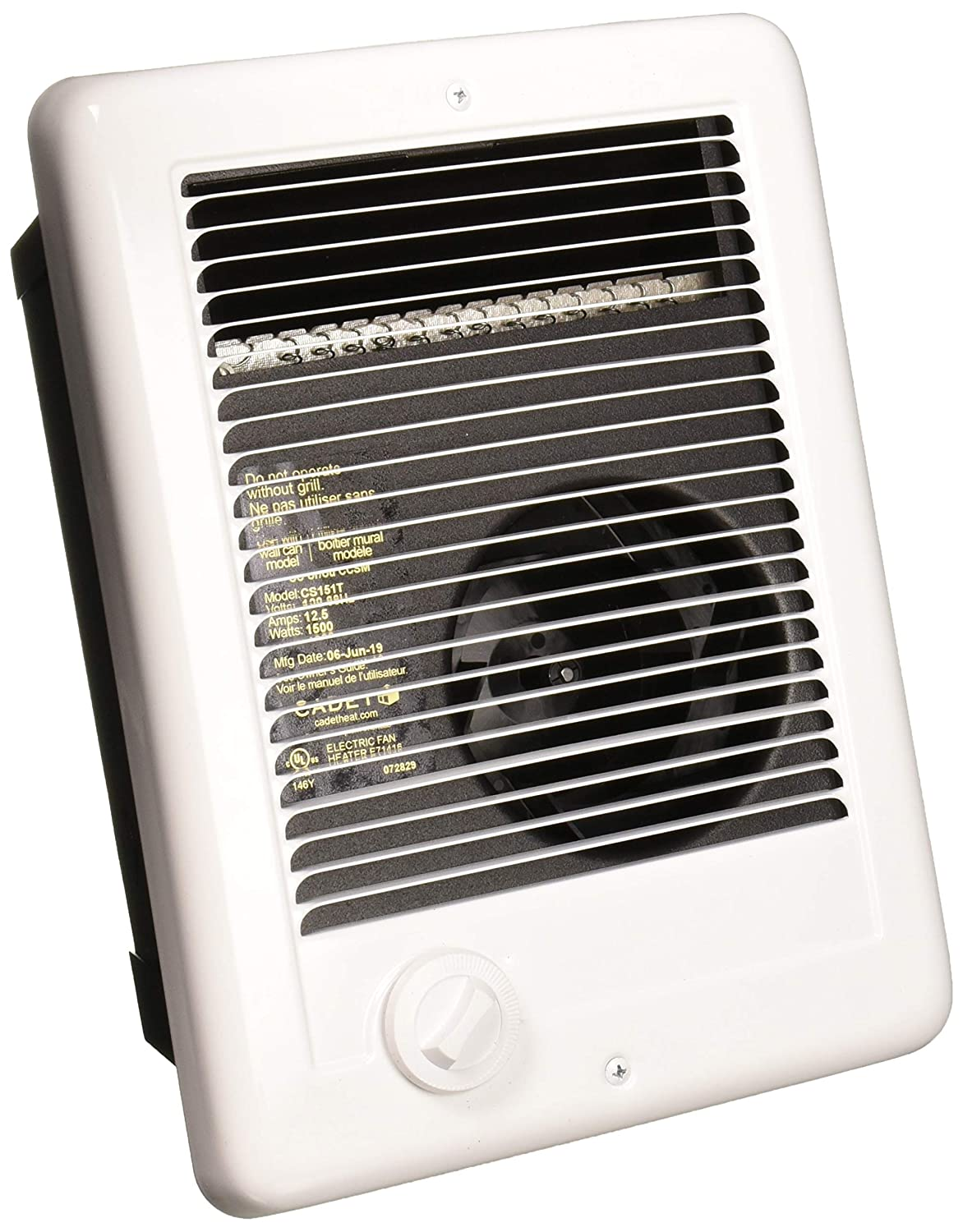 Cadet Com-Pak 1500W Thermostat Electric Wall Heater
