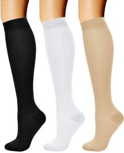 CHARMKING 15-20 mmHg Women & Men Athletic Compression Socks, 3-Pair