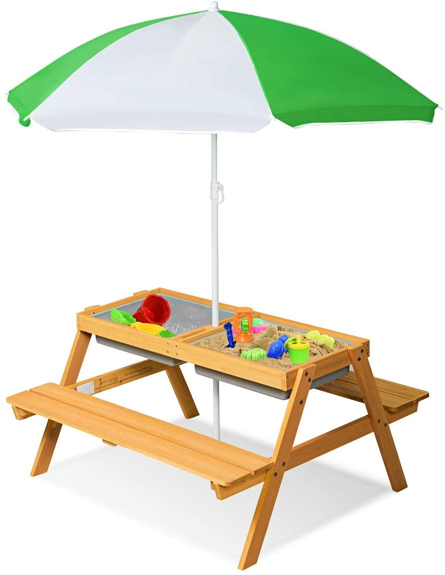Costzon 3-In-1 Convertible Kid's Picnic & Water Table Set