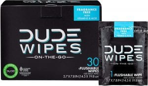 DUDE Products Flushable Unscented Dude Wet Wipes For Adults, 30-Count