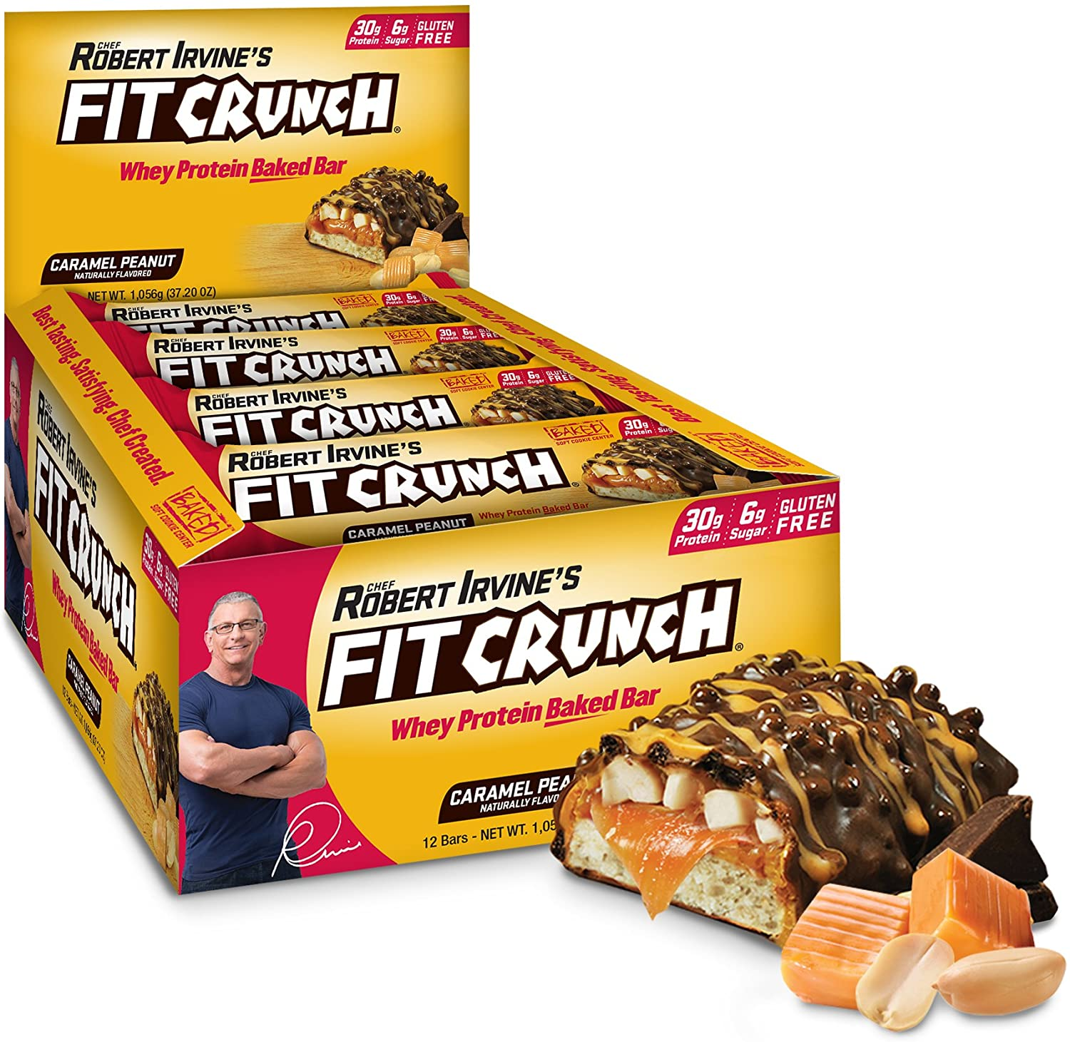 FITCRUNCH Caramel Peanut Whey Protein Bar, 12-Count
