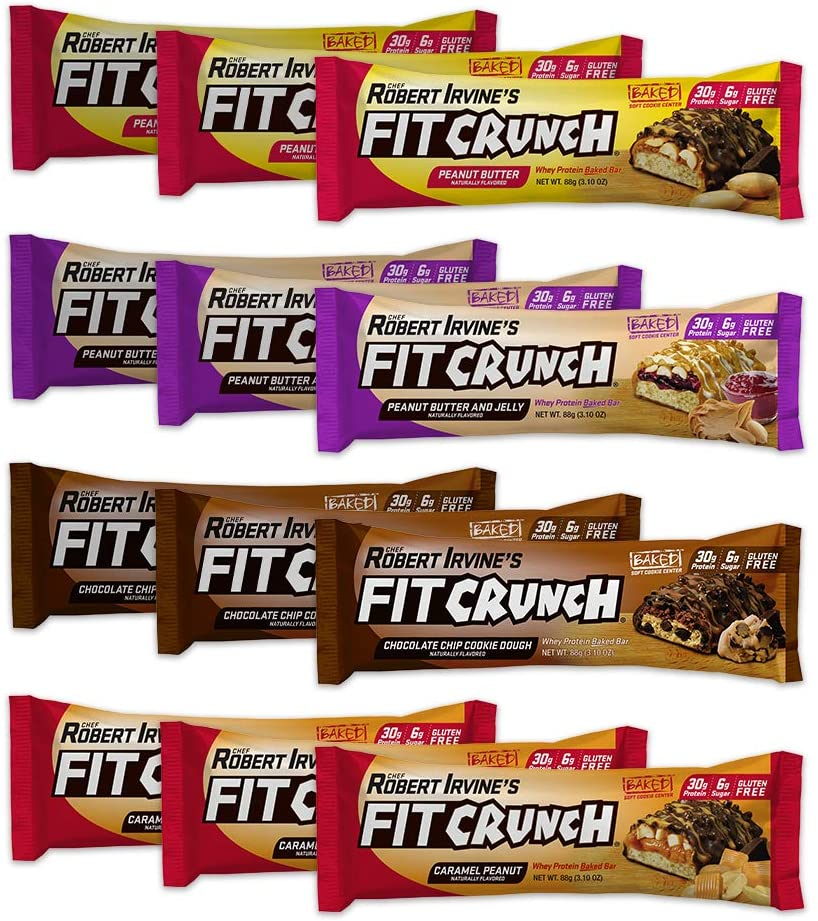 FITCRUNCH Variety Pack Whey Protein Bar, 12-Count