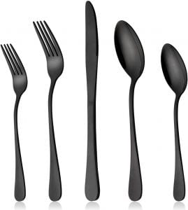 LIANYU Stainless Steel Dishwasher Safe Mirror Finish Flatware Set, 20-Piece