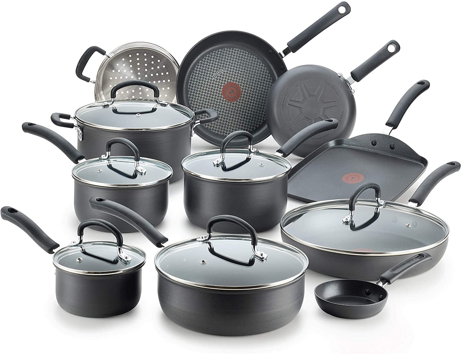 T-fal E765SH Ultimate Hard Anodized Nonstick Cookware, 17-Piece