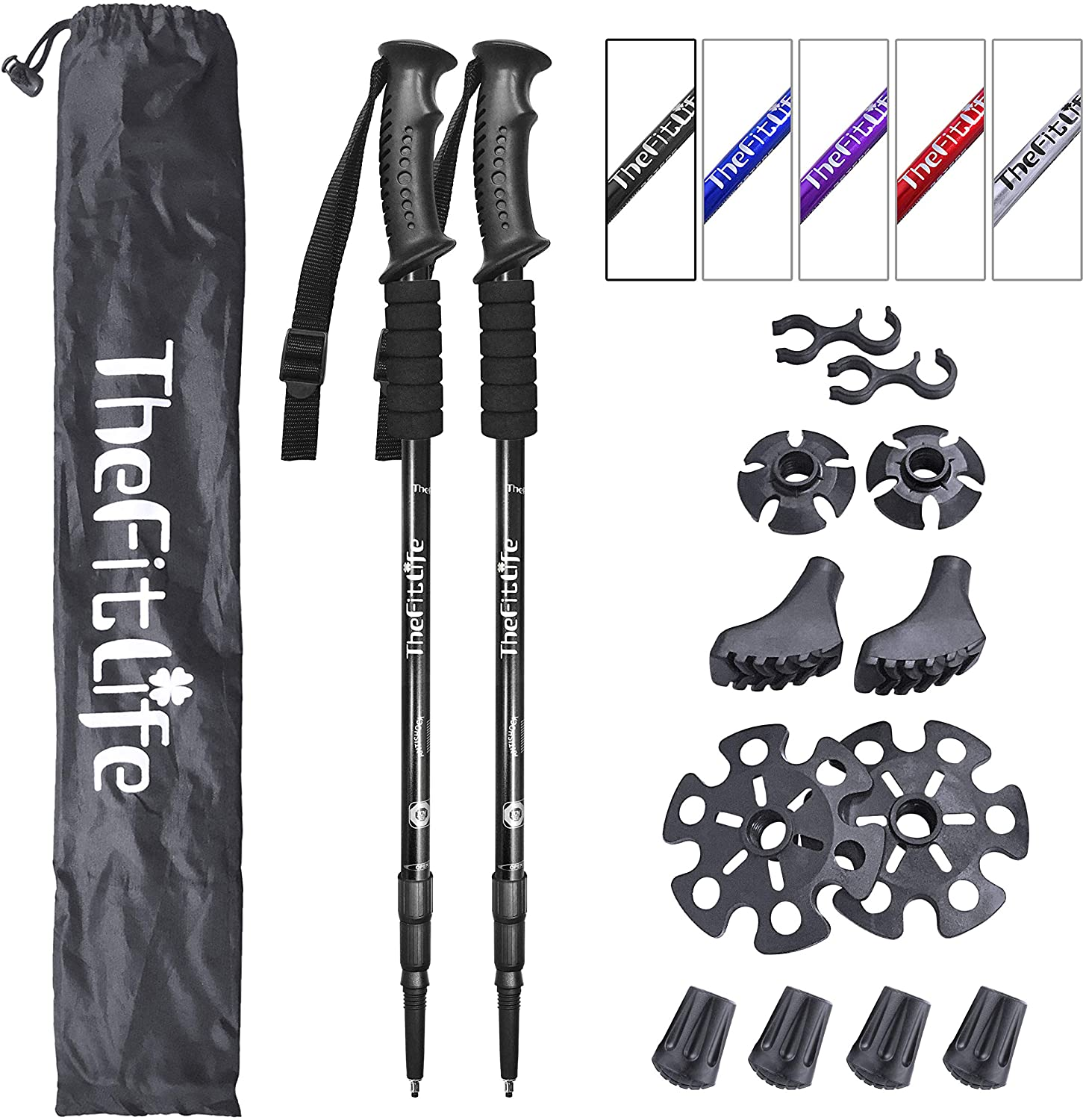 TheFitLife Nordic Walking Telescoping Trekking Poles