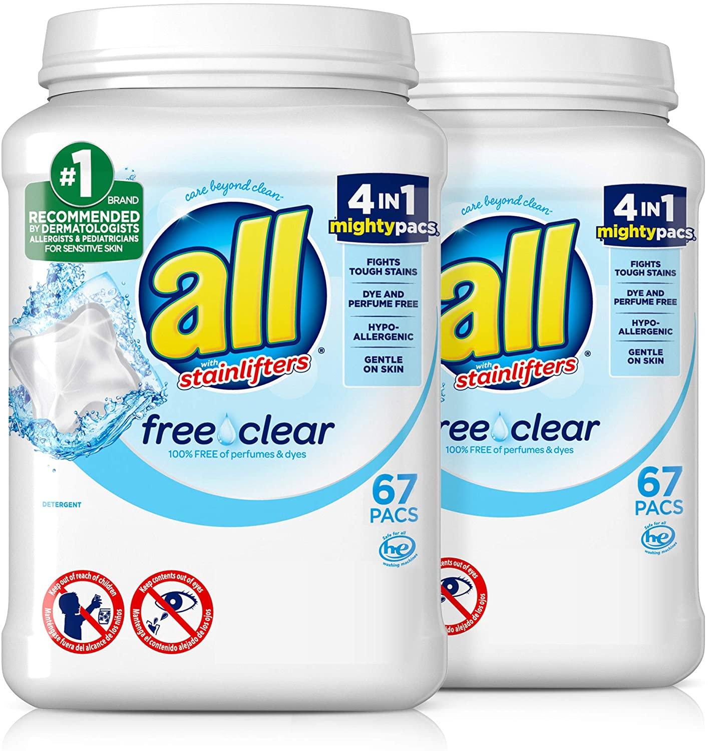 all Mighty Pacs Free & Clear HE Laundry Detergent