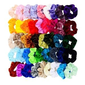 Chloven Velvet Assorted Colors Hair Scrunchie, 45-Piece