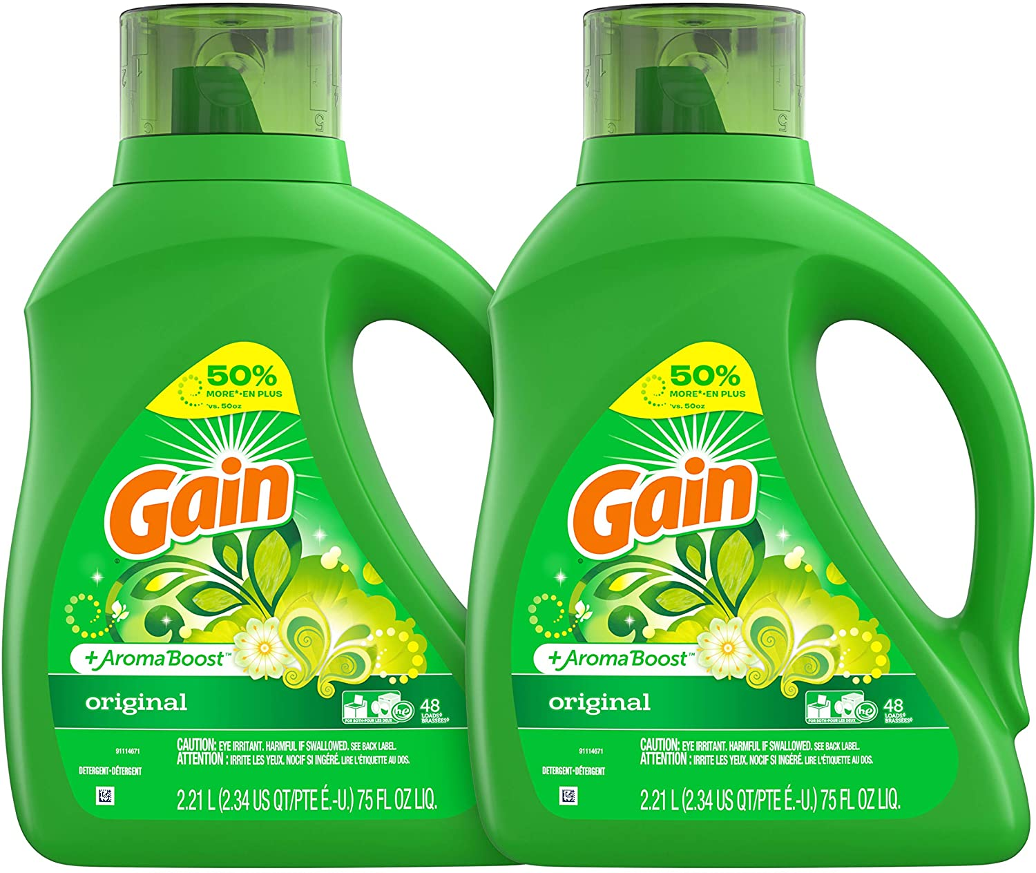 Gain Aroma Burst HE Liquid Laundry Detergent, 2-Pack
