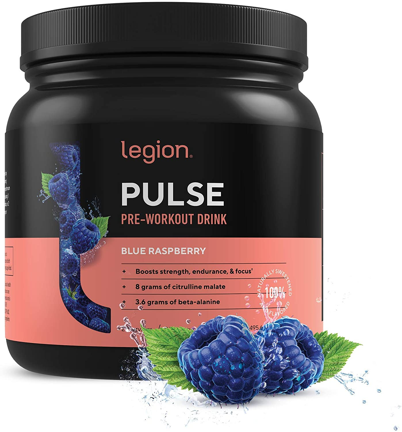 Legion Pulse Blue Rasberry Natural Pre Workout Supplement