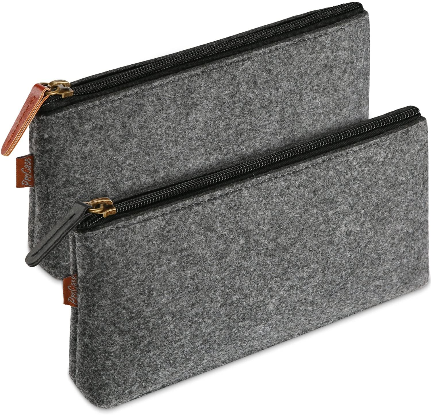 ProCase Felt Zipper Pencil Case, 2-Pack