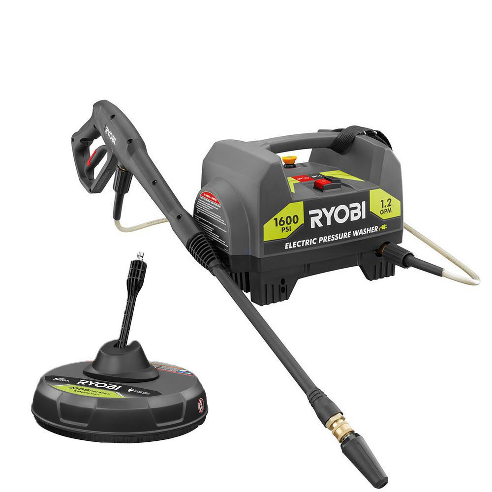 RYOBI RY141612-SC19 1,600 PSI 1.2-GPM Electric Pressure Washer & 12-Inch Surface Cleaner