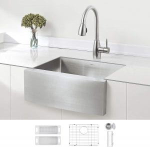 ZUHNE Single Bowl Curved Front Stainless Steel Kitchen Sink, 24-Inch