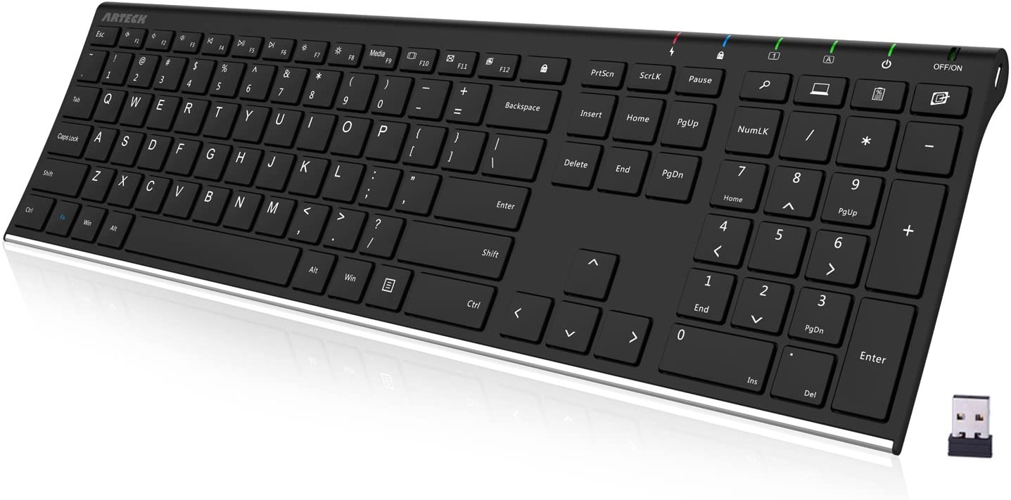 Arteck 2.4G Ultra Slim Full-Size Wireless Keyboard