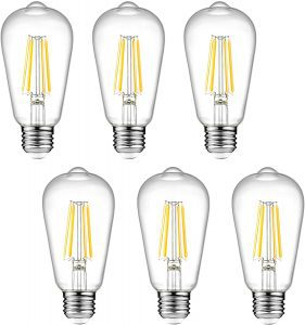 Ascher Vintage Warm White Dimmable LED Edison Bulbs, 6-Pack