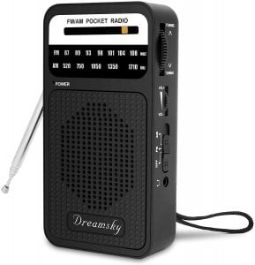 DreamSky Battery Operated AM FM Transistor Pocket Radio