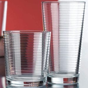 Le'raze Heavy Base Ribbed Durable Drinking Glass, 16-Count