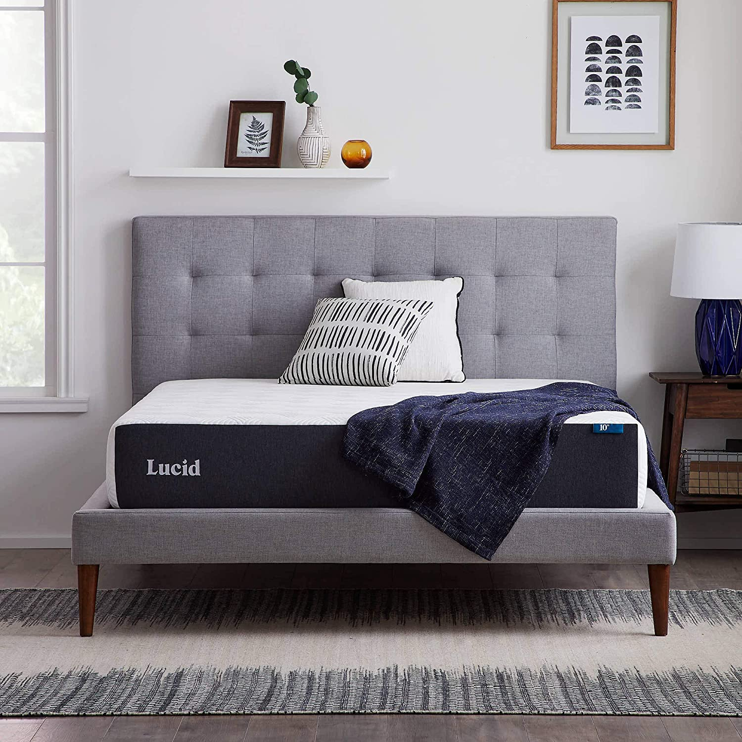 LUCID 10-Inch Gel Memory Foam Firm Mattress