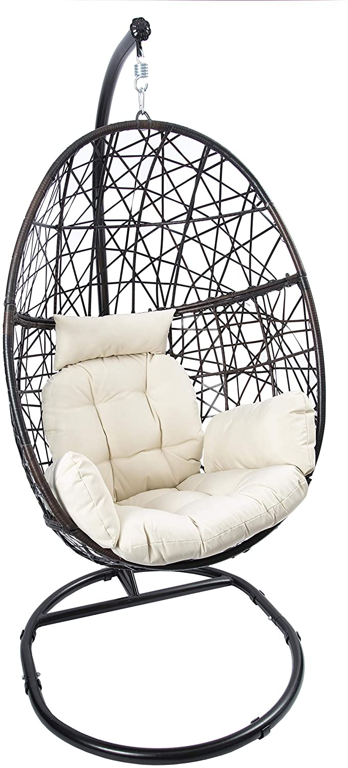 LUCKYBERRY Rattan Hanging Egg Chair