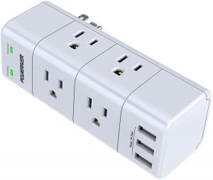 POWERIVER In-Wall Mount Surge Protector & Outlet Splitter