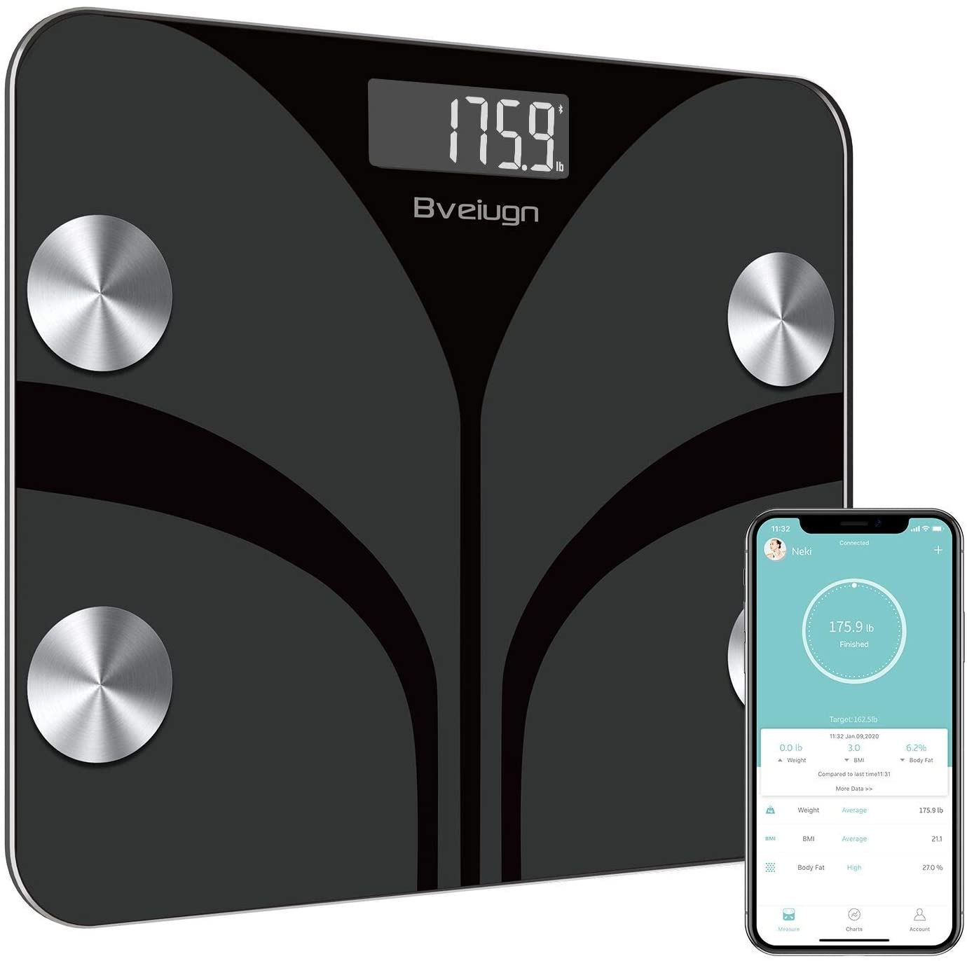 Bveiugn Tempered Glass Digital BMI Scale