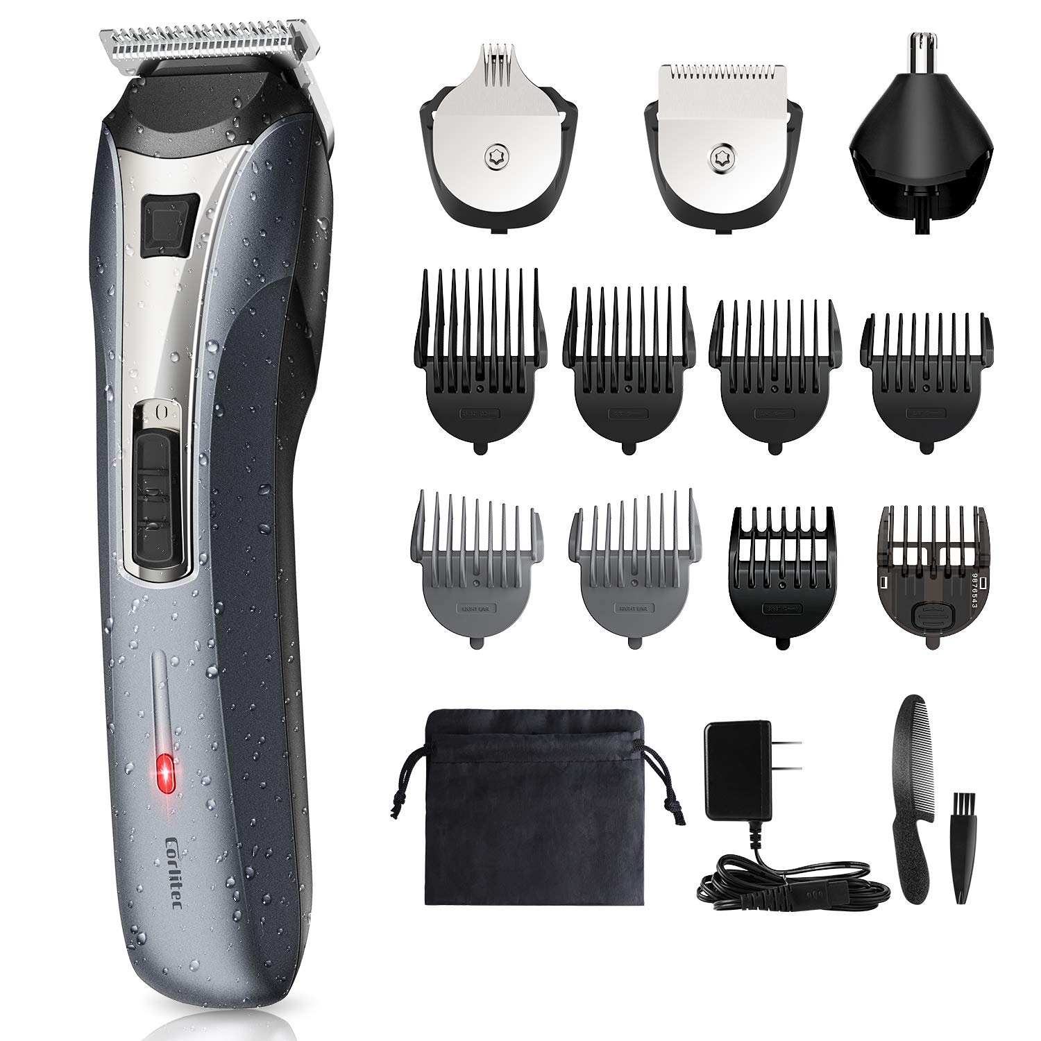 Corlitec Rechargeable Men's Beard Trimmer Grooming Kit