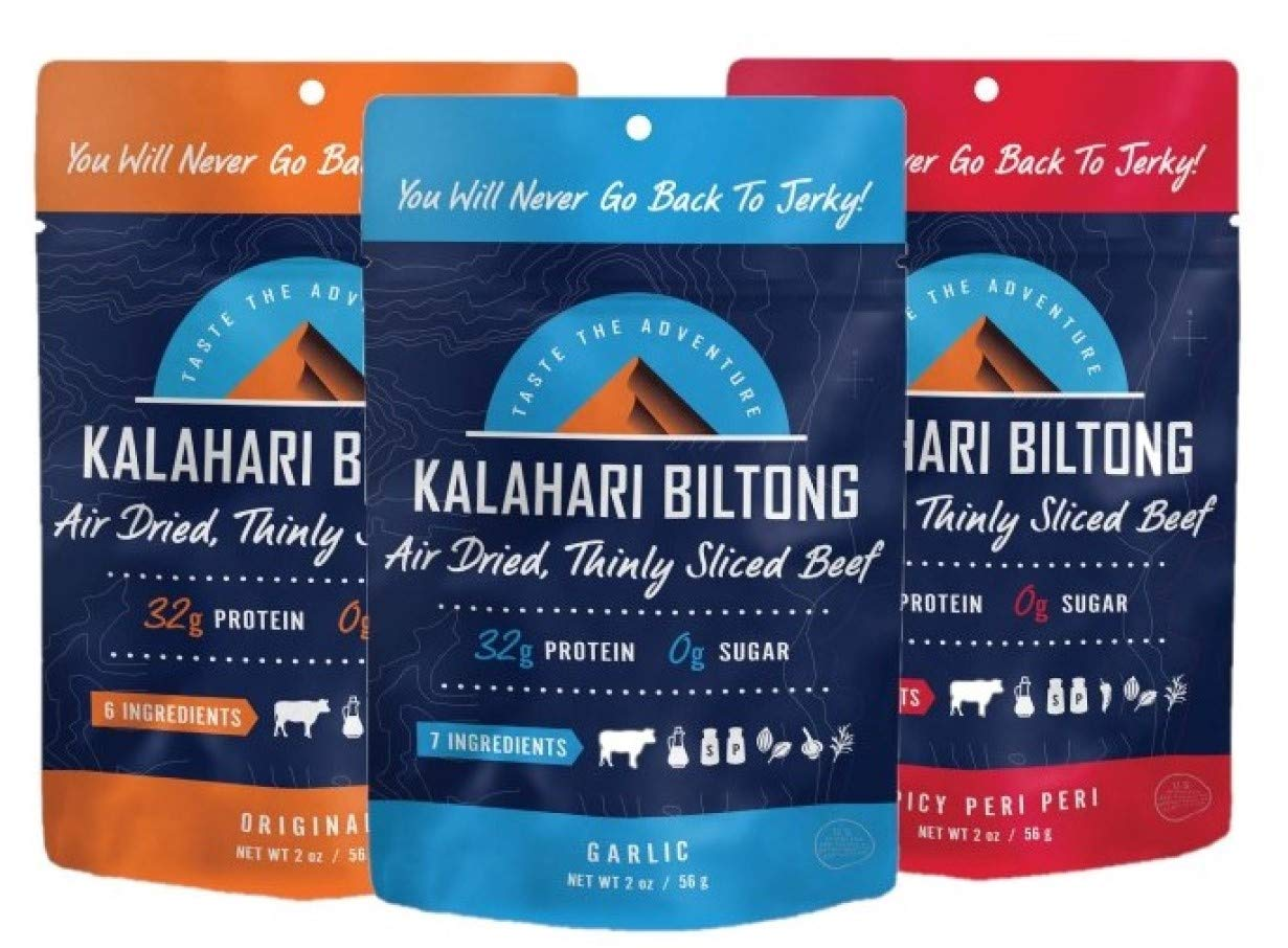 Kalahari Biltong Air-Dried Variety Pack Beef Jerky, 3-Pack