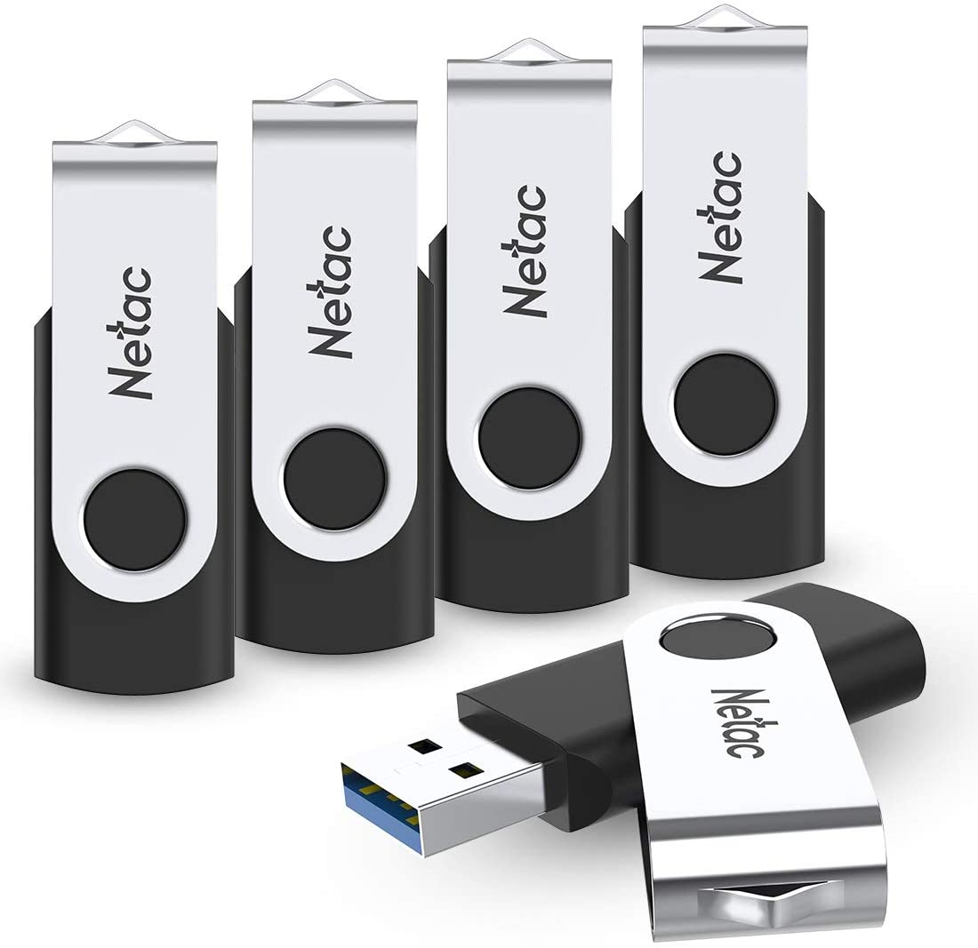 Netac Swivel 8GB 3.0 USB Flash Drive, 5-Pack